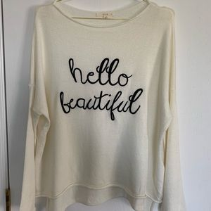 HELLO BEAUTIFUL Graphic Slouchy Sweater